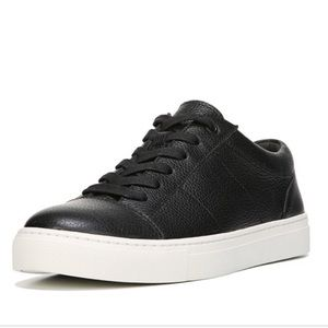 VINCE Afton Leather Low-Top Lace Up Sneakers Black